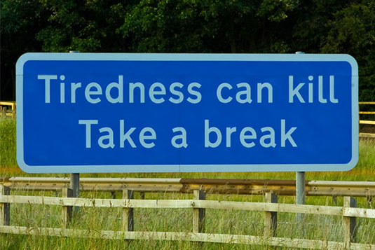 'Tiredness can kill' road sign